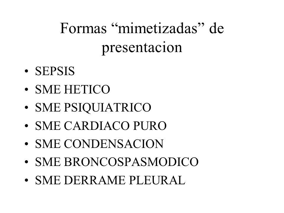 Formas mimetizadas de presentacion SEPSIS SME HETICO SME PSIQUIATRICO SME CARDIACO PURO SME CONDENSACION SME BRONCOSPASMODICO SME DERRAME PLEURAL