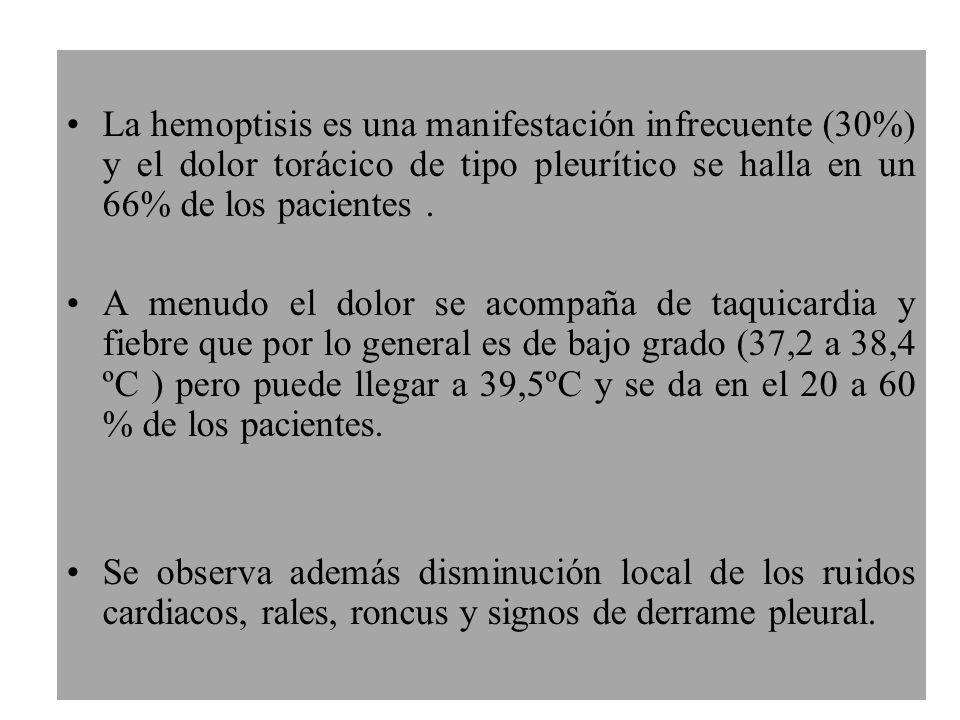 La hemoptisis es una manifestación infrecuente (30%) y el dolor torácico de tipo pleurítico se halla en un 66% de los pacientes. A menudo el dolor se