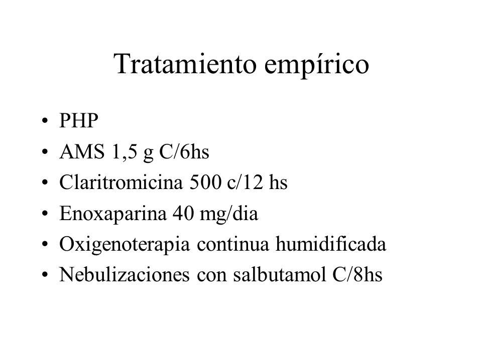Tratamiento empírico PHP AMS 1,5 g C/6hs Claritromicina 500 c/12 hs Enoxaparina 40 mg/dia Oxigenoterapia continua humidificada Nebulizaciones con salb