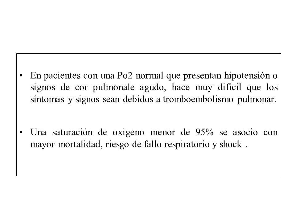 En pacientes con una Po2 normal que presentan hipotensión o signos de cor pulmonale agudo, hace muy difícil que los síntomas y signos sean debidos a t