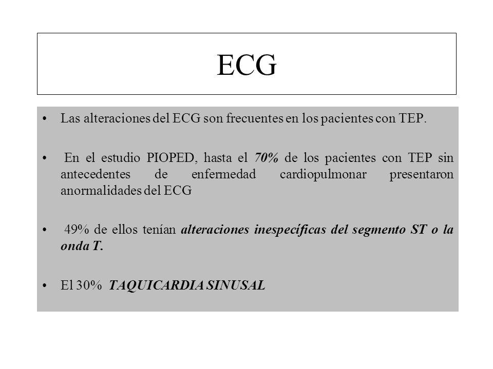Las alteraciones del ECG son frecuentes en los pacientes con TEP. En el estudio PIOPED, hasta el 70% de los pacientes con TEP sin antecedentes de enfe