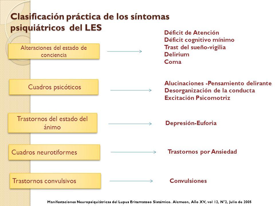 Clasificación práctica de los síntomas psiquiátricos del LES Clasificación práctica de los síntomas psiquiátricos del LES Depresión-Euforia Trastornos