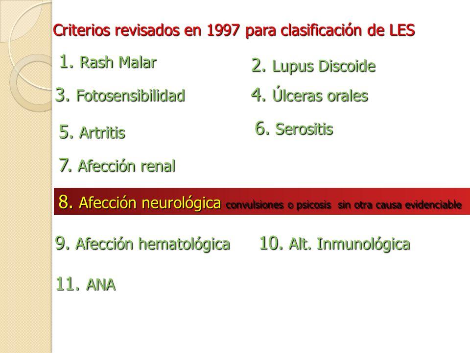Criterios revisados en 1997 para clasificación de LES 1. Rash Malar 2. Lupus Discoide 3. Fotosensibilidad 4. Úlceras orales 5. Artritis 6. Serositis 7