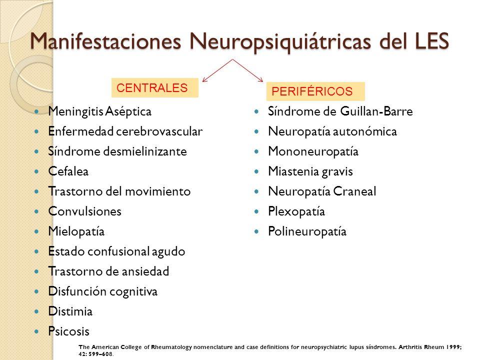 Manifestaciones Neuropsiquiátricas del LES Meningitis Aséptica Enfermedad cerebrovascular Síndrome desmielinizante Cefalea Trastorno del movimiento Co