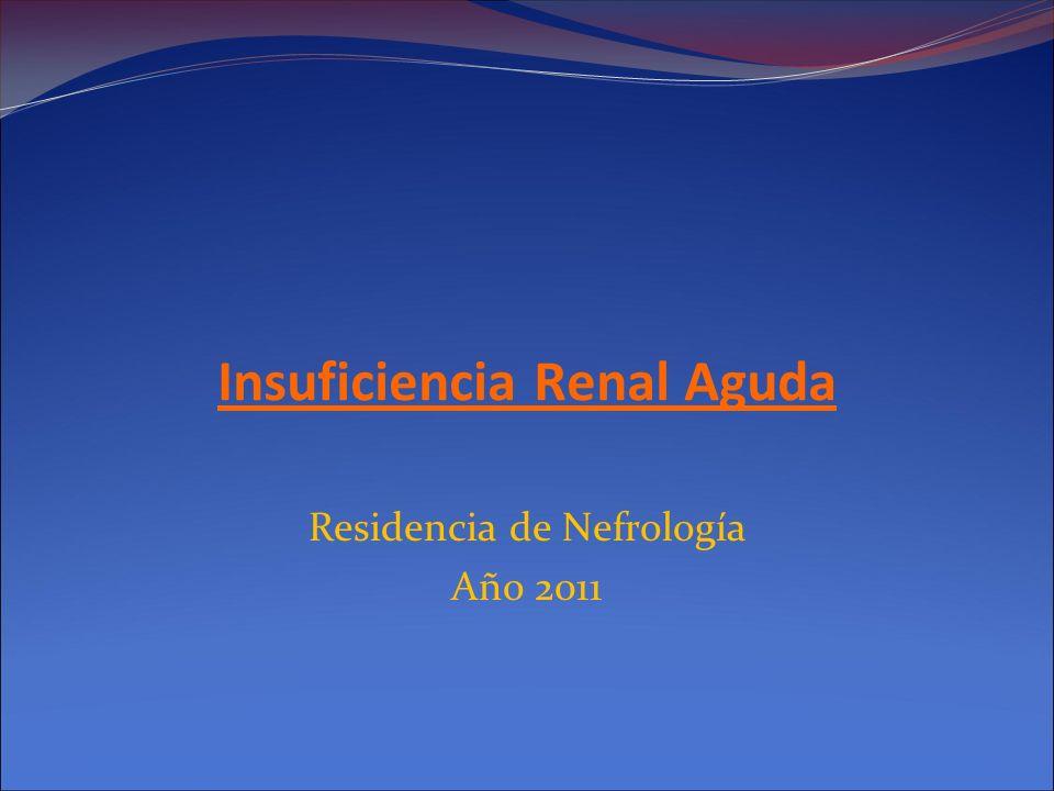 Injuria Renal Aguda Renal Enfermedad primaria intrarenal Corresponde al 35-40% de los pacientes con Disfunci ó n Renal Aguda ARF se categoriza de acuerdo a sitio anat ó mico comprometido: TUBULAR: 80-90 % de los casos (Isqu é micas o T ó xicas) Vascular Glomerular Intersticial