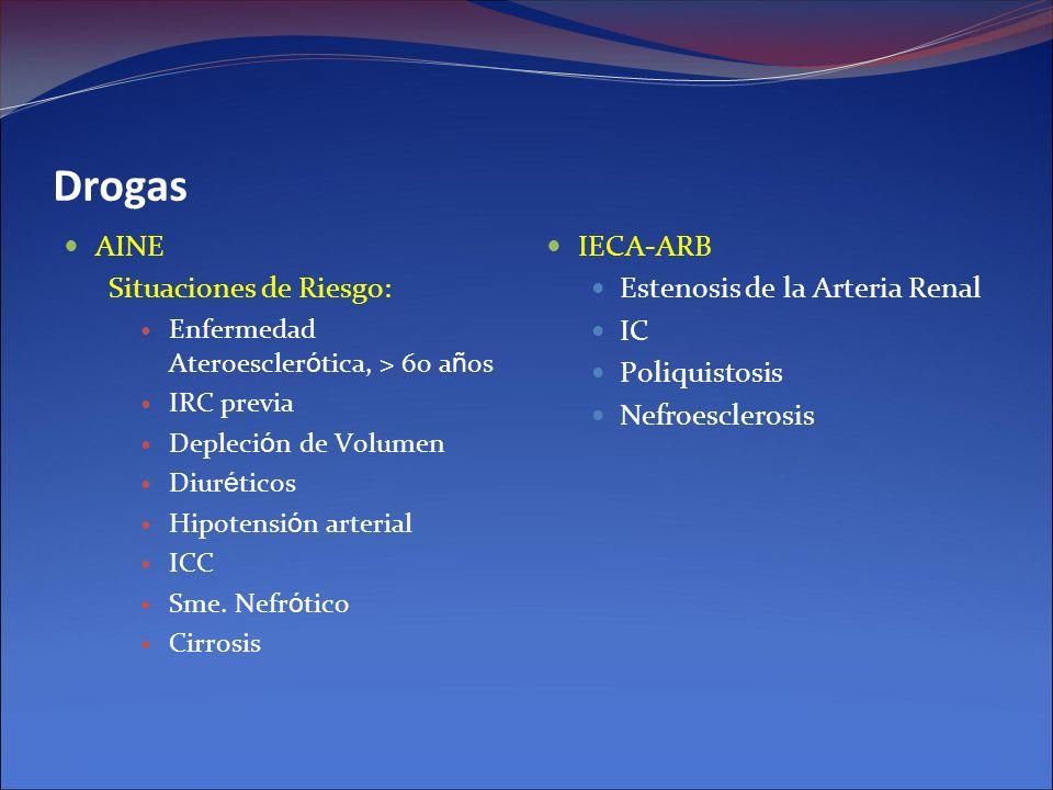 Drogas AINE Situaciones de Riesgo: Enfermedad Ateroescler ó tica, > 60 a ñ os IRC previa Depleci ó n de Volumen Diur é ticos Hipotensi ó n arterial IC