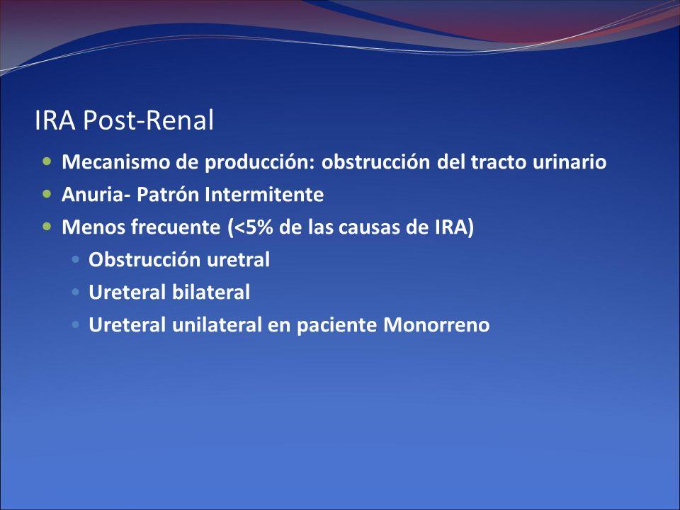 IRA Post-Renal Mecanismo de producción: obstrucción del tracto urinario Anuria- Patrón Intermitente Menos frecuente (<5% de las causas de IRA) Obstruc