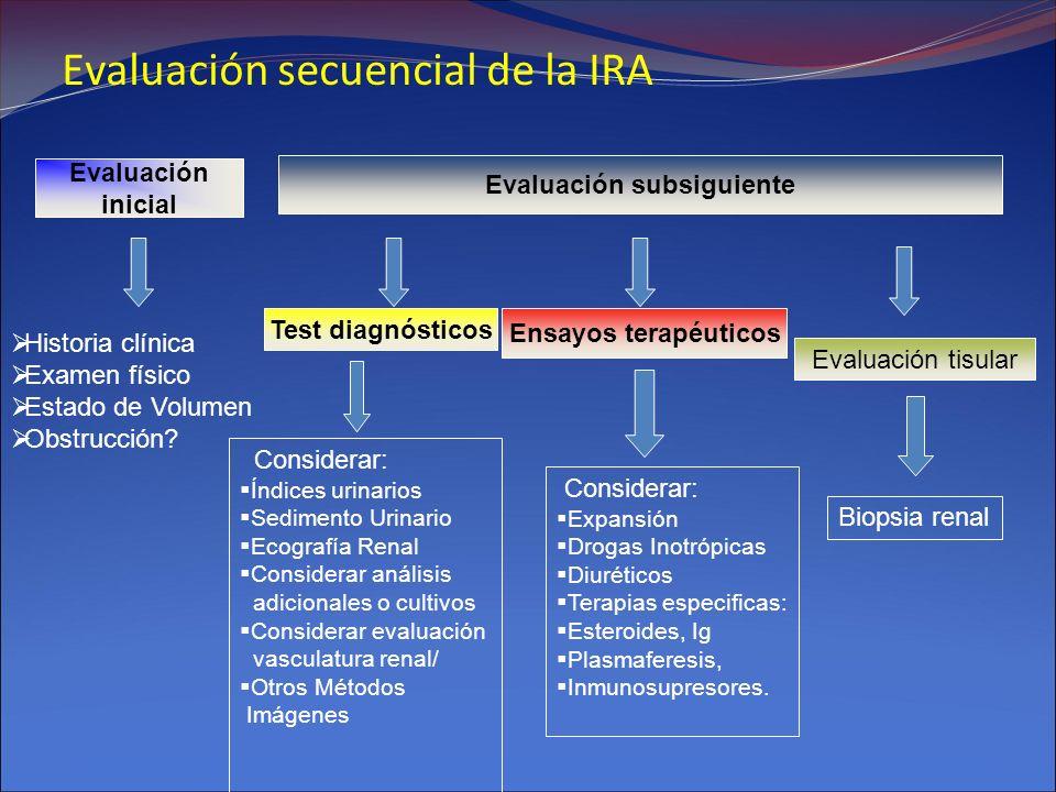 Evaluación secuencial de la IRA Evaluación inicial Evaluación subsiguiente Historia clínica Examen físico Estado de Volumen Obstrucción? Test diagnóst