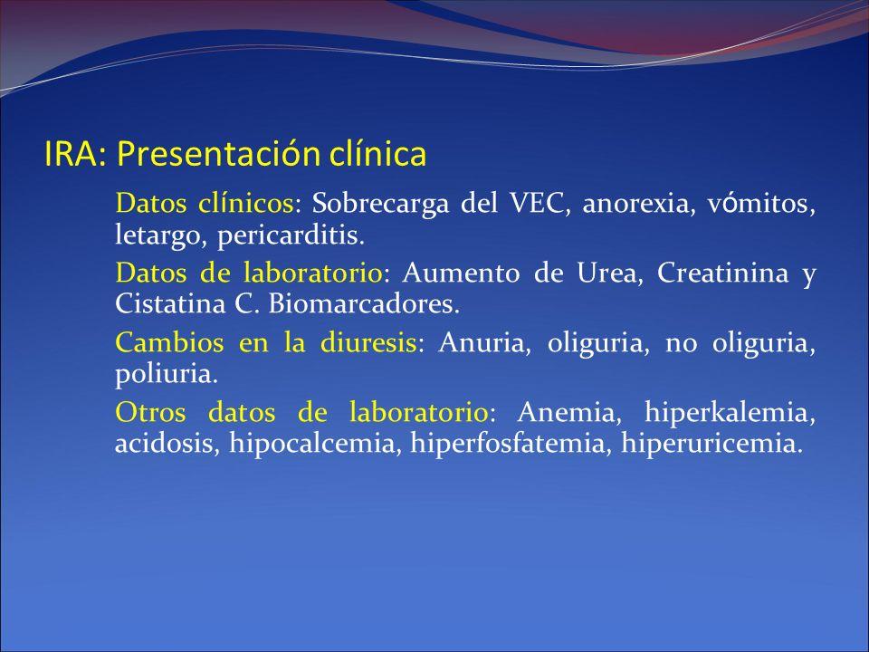 IRA: Presentación clínica Datos cl í nicos: Sobrecarga del VEC, anorexia, v ó mitos, letargo, pericarditis. Datos de laboratorio: Aumento de Urea, Cre