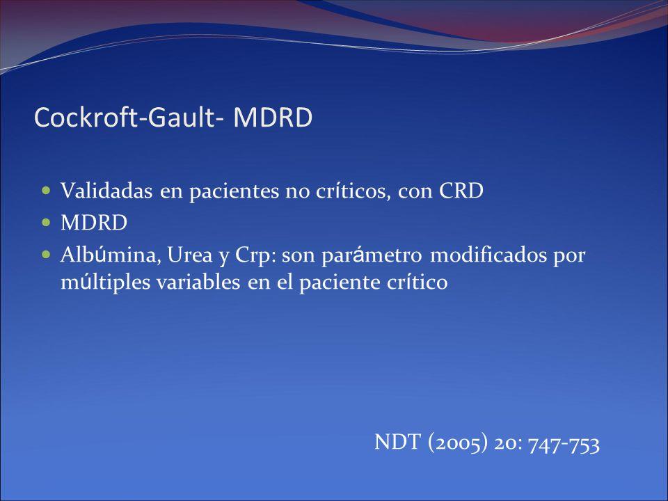 Cockroft-Gault- MDRD Validadas en pacientes no cr í ticos, con CRD MDRD Alb ú mina, Urea y Crp: son par á metro modificados por m ú ltiples variables