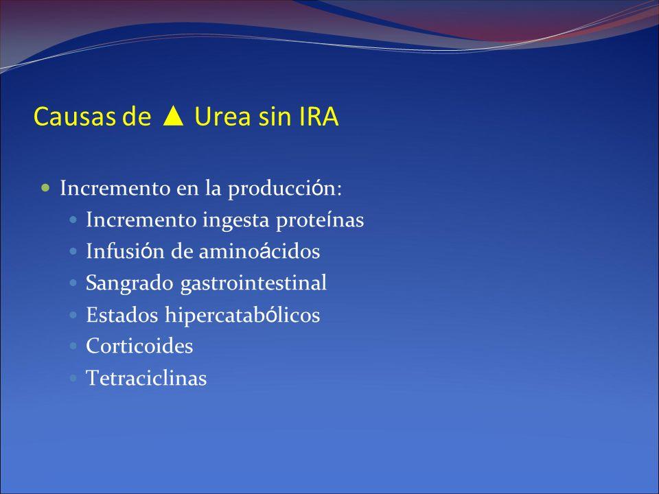 Causas de Urea sin IRA Incremento en la producci ó n: Incremento ingesta prote í nas Infusi ó n de amino á cidos Sangrado gastrointestinal Estados hip