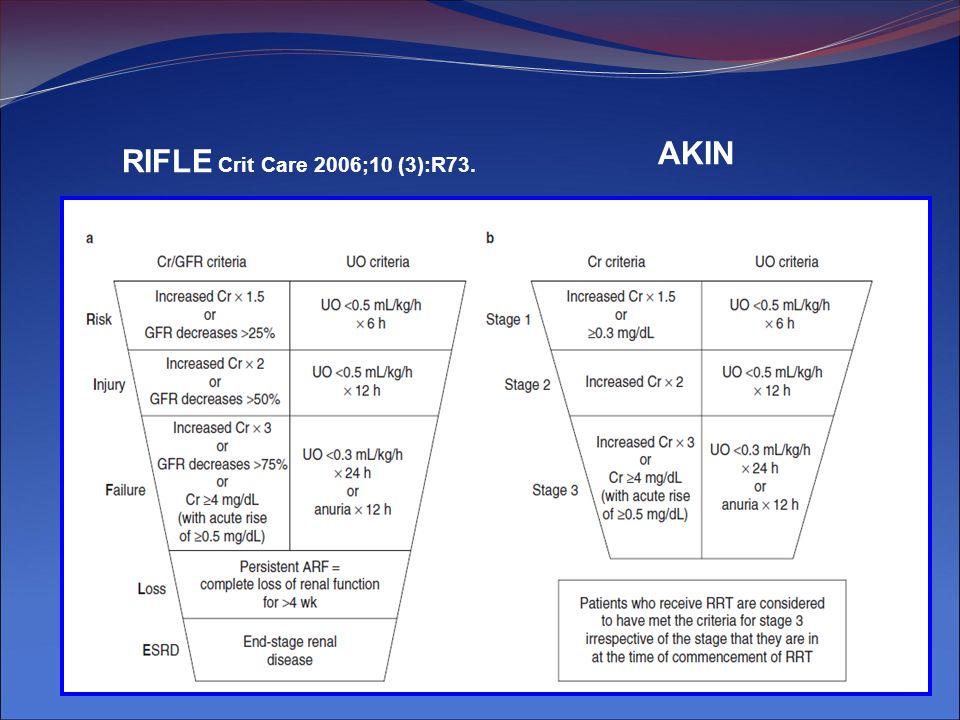 RIFLE y Mortalidad AKI vs No AKI RR: 2,4RR: 6,37RR: 4,1