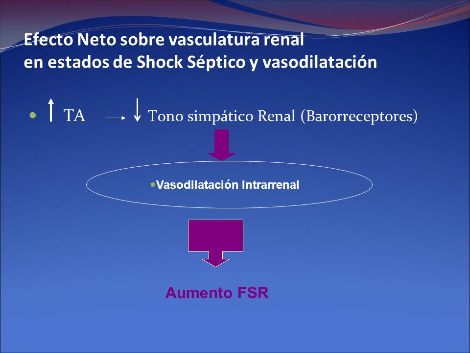 Efecto Neto sobre vasculatura renal en estados de Shock Séptico y vasodilatación TA Tono simpático Renal (Barorreceptores) Vasodilatación Intrarrenal
