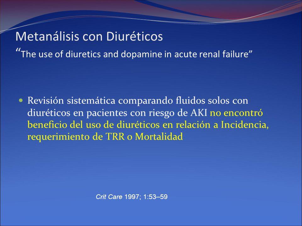 Metanálisis con Diuréticos The use of diuretics and dopamine in acute renal failure Revisión sistemática comparando fluidos solos con diuréticos en pa