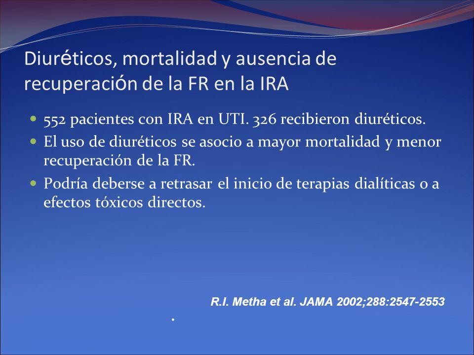 Diur é ticos, mortalidad y ausencia de recuperaci ó n de la FR en la IRA 552 pacientes con IRA en UTI. 326 recibieron diuréticos. El uso de diuréticos