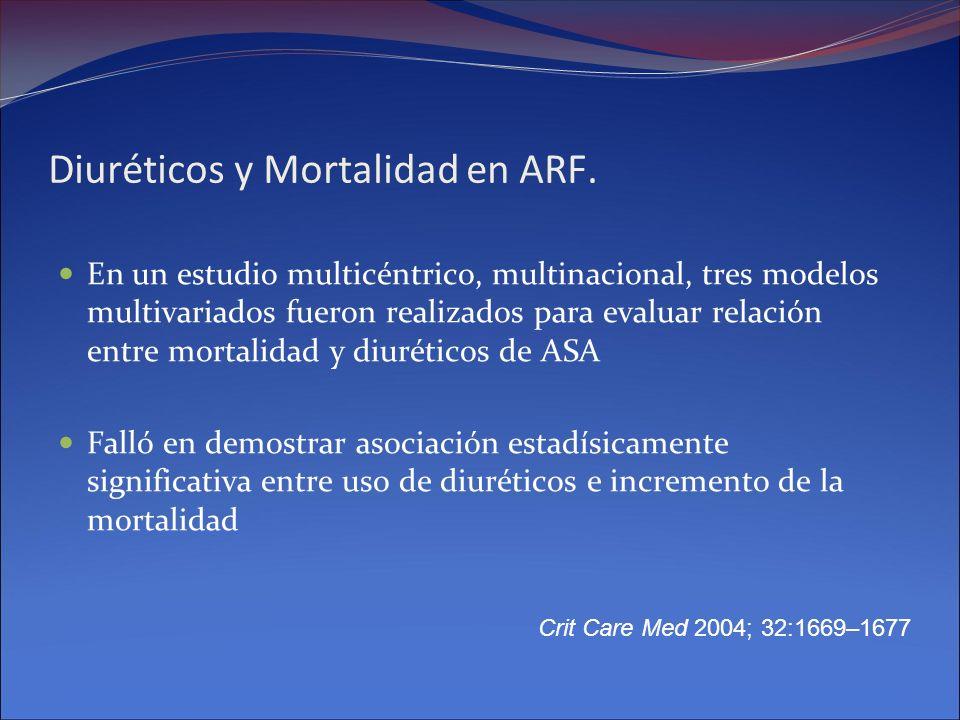 Diuréticos y Mortalidad en ARF. En un estudio multicéntrico, multinacional, tres modelos multivariados fueron realizados para evaluar relación entre m