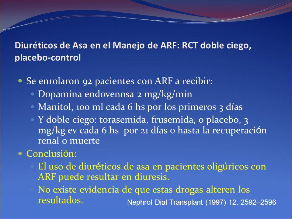 Diuréticos de Asa en el Manejo de ARF: RCT doble ciego, placebo-control Se enrolaron 92 pacientes con ARF a recibir: Dopamina endovenosa 2 mg/kg/min M