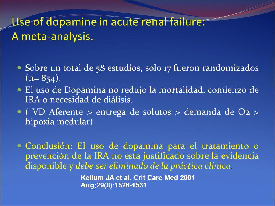 Use of dopamine in acute renal failure: A meta-analysis. Sobre un total de 58 estudios, solo 17 fueron randomizados (n= 854). El uso de Dopamina no re