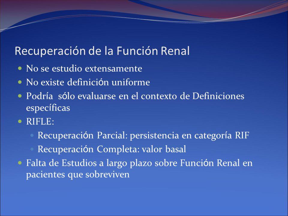 Recuperación de la Función Renal No se estudio extensamente No existe definici ó n uniforme Podr í a s ó lo evaluarse en el contexto de Definiciones e