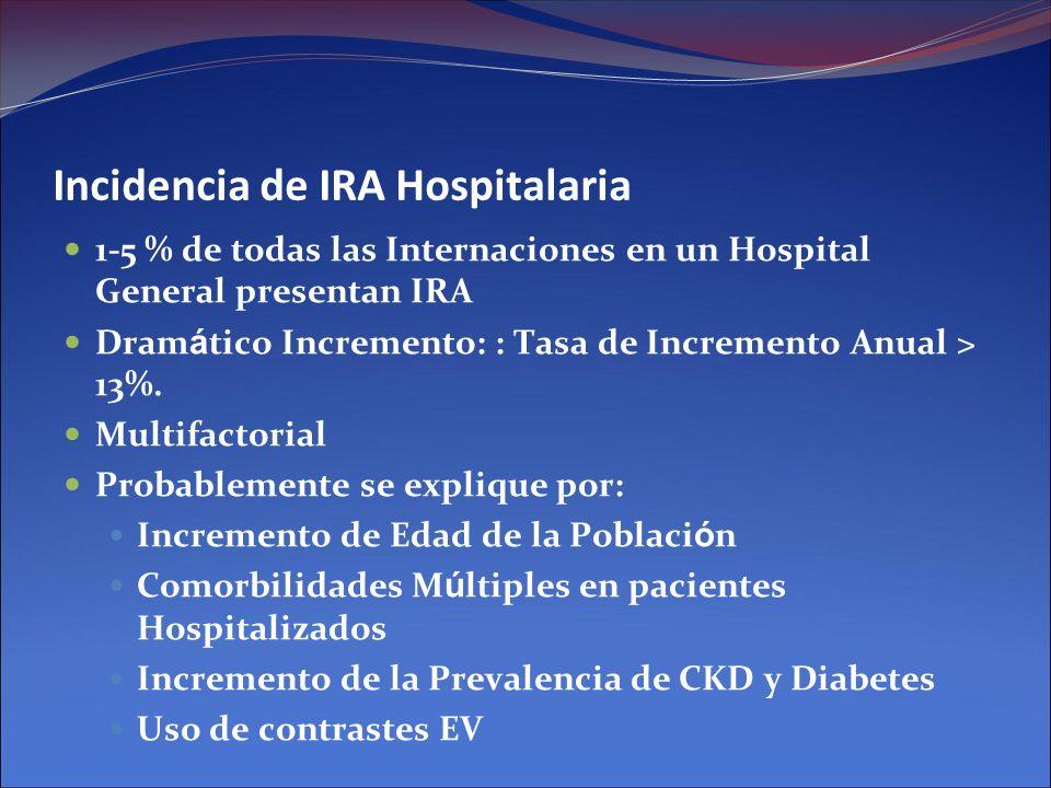 Incidencia de IRA Hospitalaria 1-5 % de todas las Internaciones en un Hospital General presentan IRA Dram á tico Incremento: : Tasa de Incremento Anua