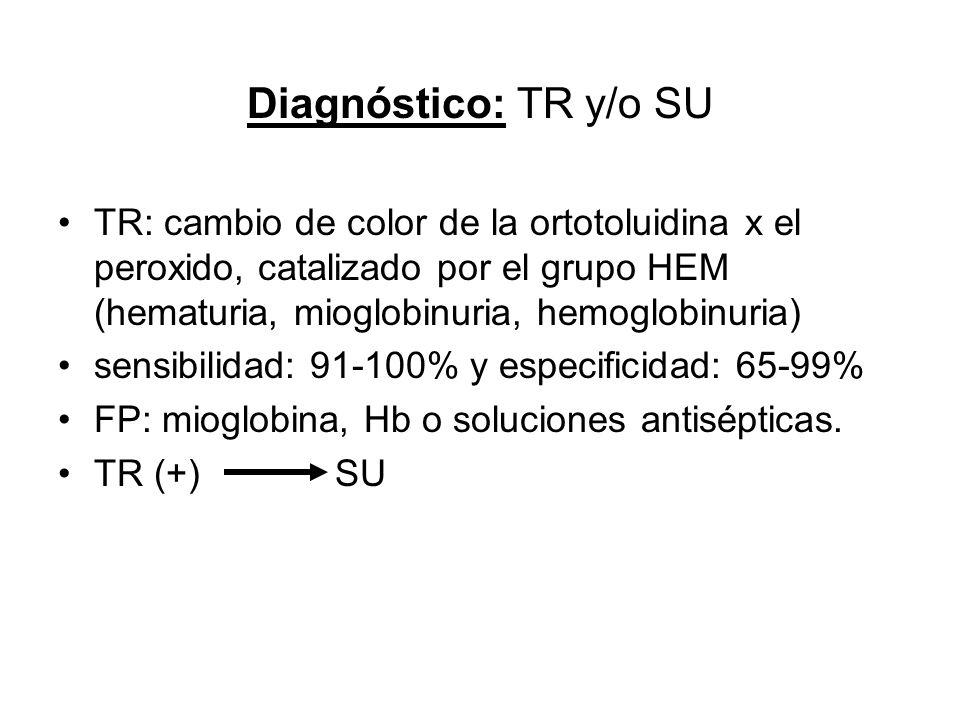 Diagnóstico: TR y/o SU TR: cambio de color de la ortotoluidina x el peroxido, catalizado por el grupo HEM (hematuria, mioglobinuria, hemoglobinuria) s