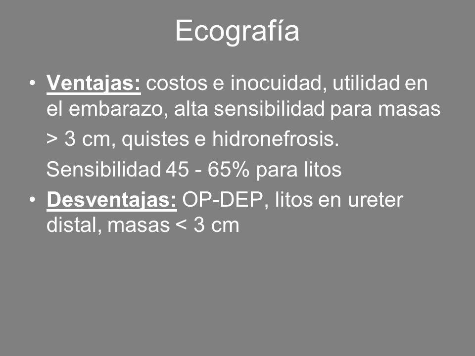 Ecografía Ventajas: costos e inocuidad, utilidad en el embarazo, alta sensibilidad para masas > 3 cm, quistes e hidronefrosis. Sensibilidad 45 - 65% p