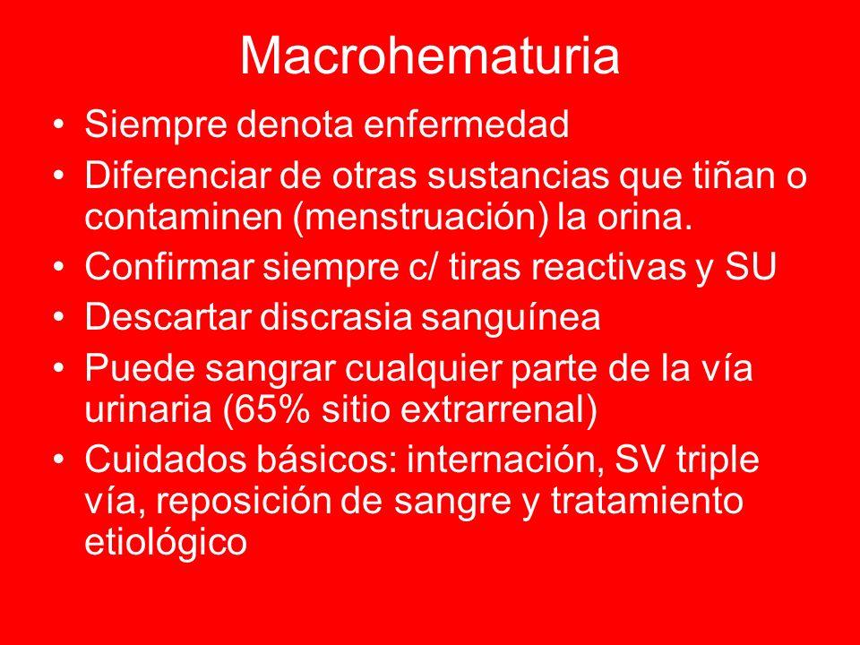 Macrohematuria Siempre denota enfermedad Diferenciar de otras sustancias que tiñan o contaminen (menstruación) la orina. Confirmar siempre c/ tiras re