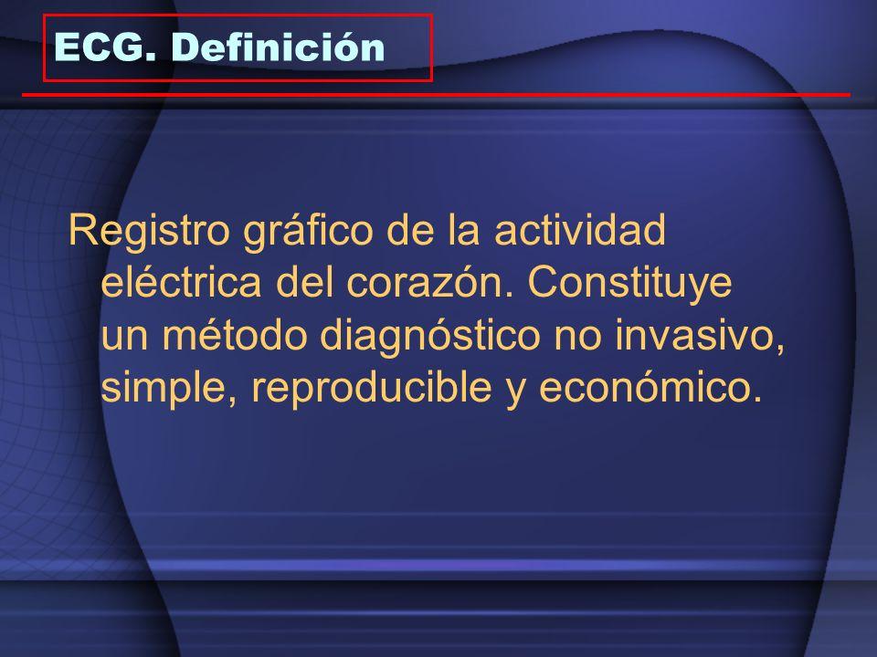 ECG. Definición Registro gráfico de la actividad eléctrica del corazón. Constituye un método diagnóstico no invasivo, simple, reproducible y económico