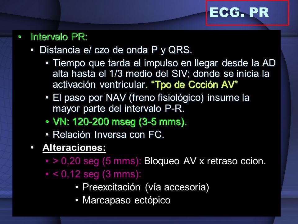 Intervalo PR:Intervalo PR: Distancia e/ czo de onda P y QRS.Distancia e/ czo de onda P y QRS. Tiempo que tarda el impulso en llegar desde la AD alta h