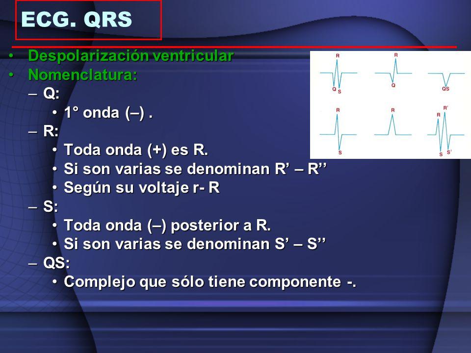 Despolarización ventricularDespolarización ventricular Nomenclatura:Nomenclatura: –Q: 1° onda (–).1° onda (–). –R: Toda onda (+) es R.Toda onda (+) es