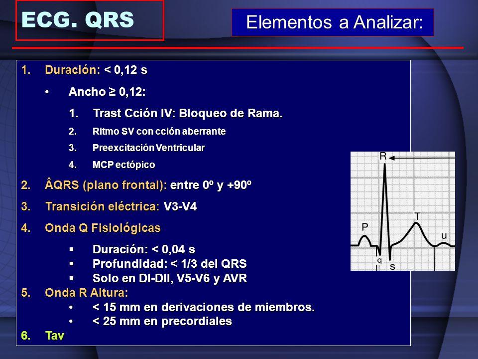 ECG. QRS Elementos a Analizar: 1.Duración: < 0,12 s Ancho 0,12:Ancho 0,12: 1.Trast Cción IV: Bloqueo de Rama. 2.Ritmo SV con cción aberrante 3.Preexci