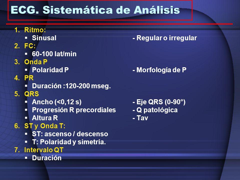 1.Ritmo: Sinusal- Regular o irregular 2.FC: 60-100 lat/min 3.Onda P Polaridad P- Morfología de P 4.PR Duración :120-200 mseg. 5.QRS Ancho (<0,12 s)- E