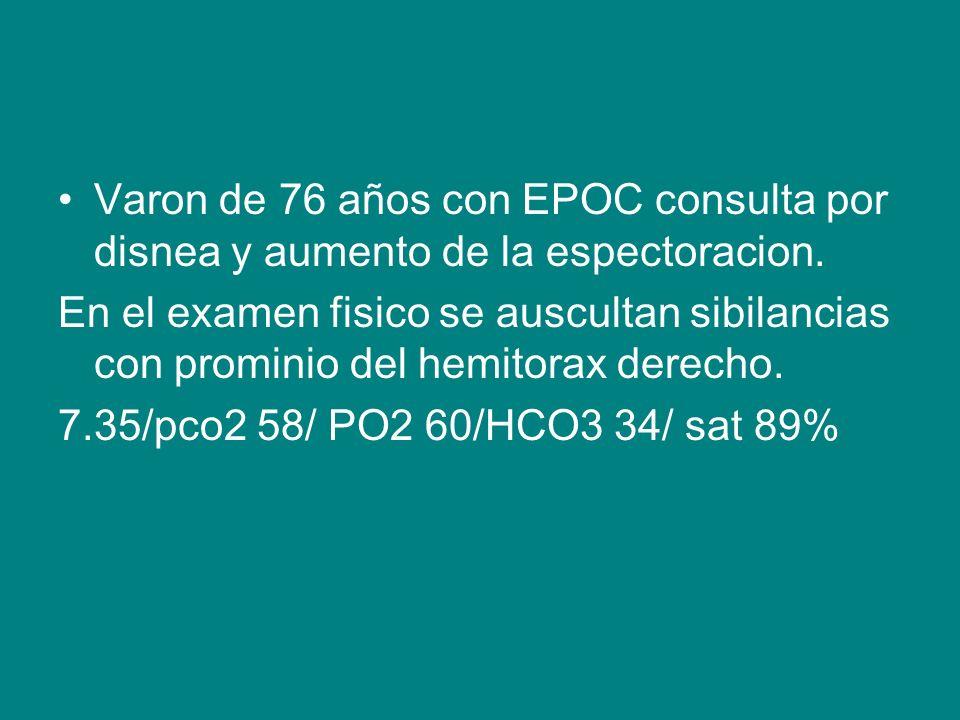 Varon de 76 años con EPOC consulta por disnea y aumento de la espectoracion.
