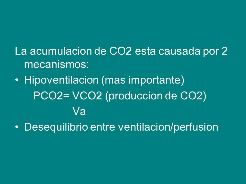 La acumulacion de CO2 esta causada por 2 mecanismos: Hipoventilacion (mas importante) PCO2= VCO2 (produccion de CO2) Va Desequilibrio entre ventilacion/perfusion