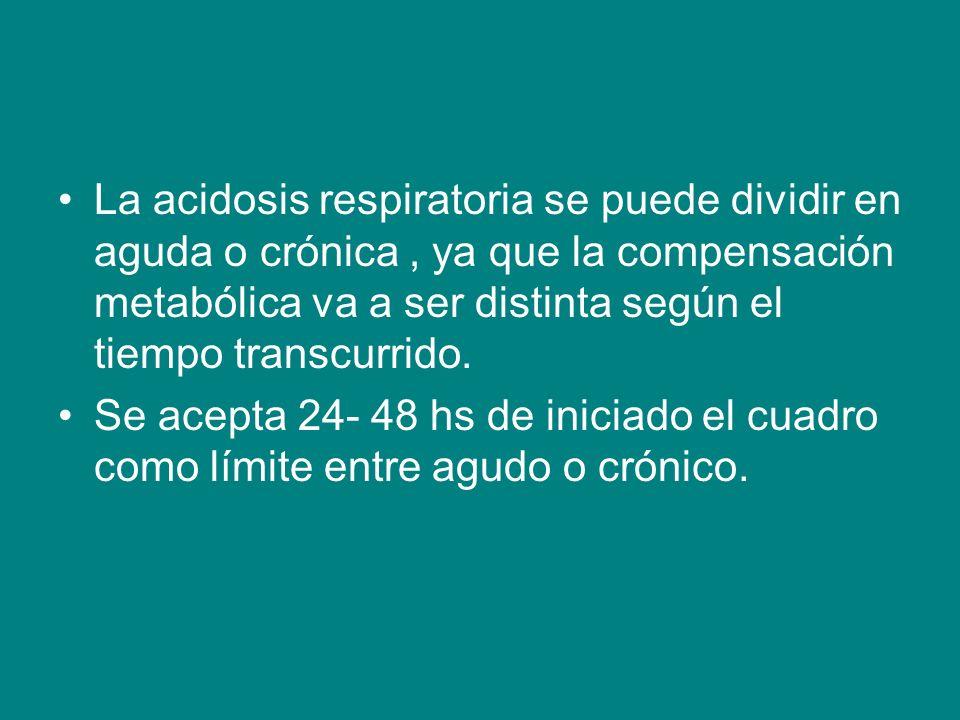 La acidosis respiratoria se puede dividir en aguda o crónica, ya que la compensación metabólica va a ser distinta según el tiempo transcurrido.