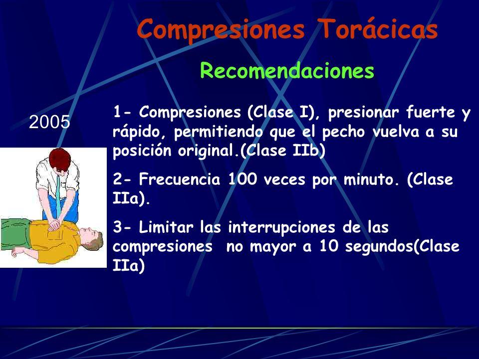 Compresiones Torácicas Recomendaciones 2005 1- Compresiones (Clase I), presionar fuerte y rápido, permitiendo que el pecho vuelva a su posición origin