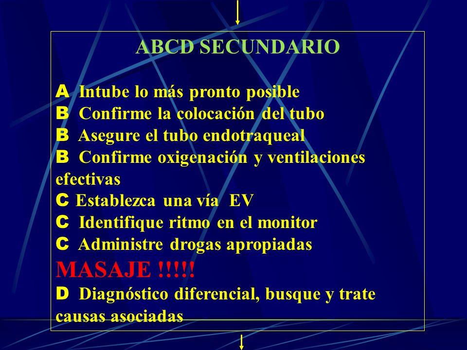 ABCD SECUNDARIO A Intube lo más pronto posible B Confirme la colocación del tubo B Asegure el tubo endotraqueal B Confirme oxigenación y ventilaciones
