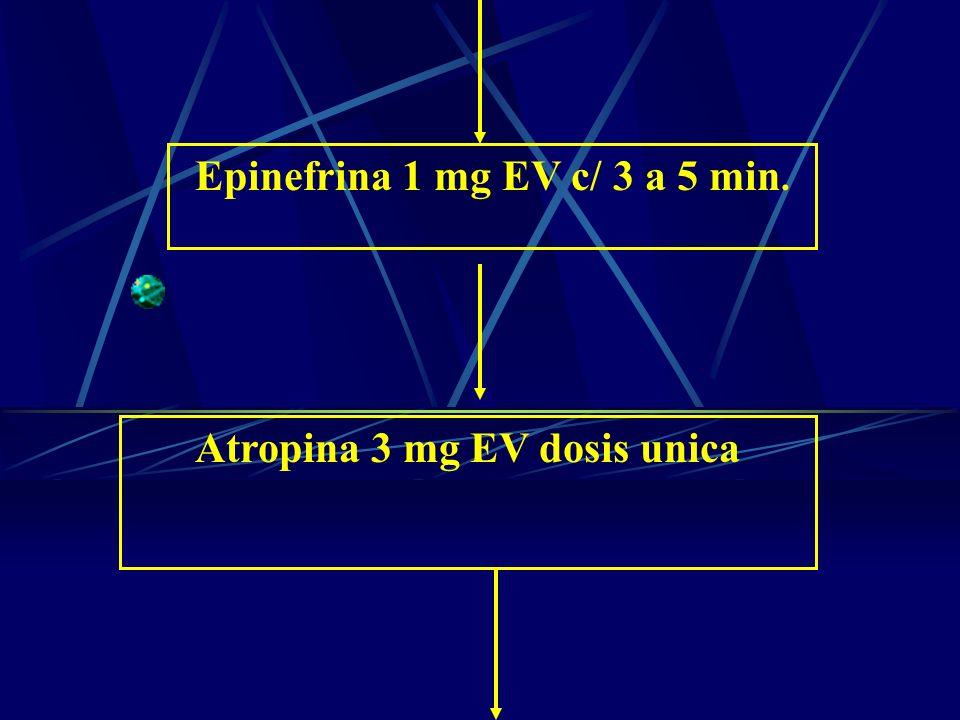 Epinefrina 1 mg EV c/ 3 a 5 min. Atropina 3 mg EV dosis unica