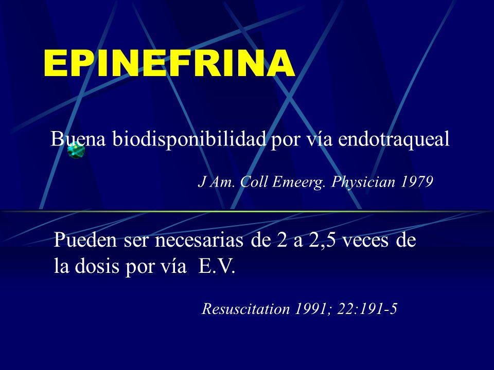 EPINEFRINA Buena biodisponibilidad por vía endotraqueal J Am. Coll Emeerg. Physician 1979 Pueden ser necesarias de 2 a 2,5 veces de la dosis por vía E