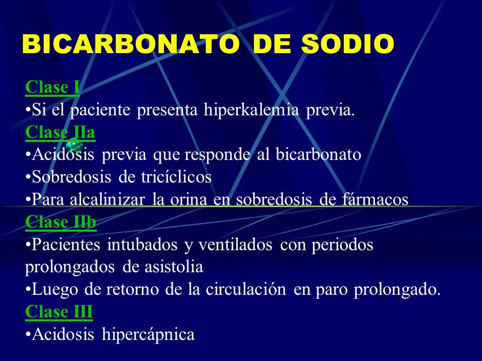 BICARBONATO DE SODIO Clase I Si el paciente presenta hiperkalemia previa. Clase IIa Acidosis previa que responde al bicarbonato Sobredosis de tricícli