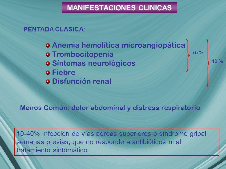 MANIFESTACIONES CLINICAS PENTADA CLASICA : 10-40% Infección de vías aéreas superiores o síndrome gripal semanas previas, que no responde a antibióticos ni al tratamiento sintomático.