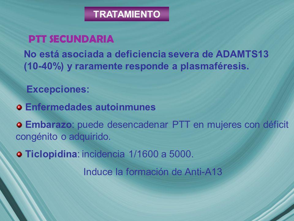 No está asociada a deficiencia severa de ADAMTS13 (10-40%) y raramente responde a plasmaféresis. Excepciones : Enfermedades autoinmunes Embarazo: pued