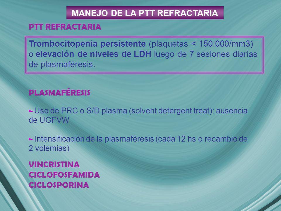 MANEJO DE LA PTT REFRACTARIA PLASMAFÉRESIS Uso de PRC o S/D plasma (solvent detergent treat): ausencia de UGFVW Intensificación de la plasmaféresis (cada 12 hs o recambio de 2 volemias) VINCRISTINA CICLOFOSFAMIDA CICLOSPORINA Trombocitopenia persistente (plaquetas < 150.000/mm3) o elevación de niveles de LDH luego de 7 sesiones diarias de plasmaféresis.