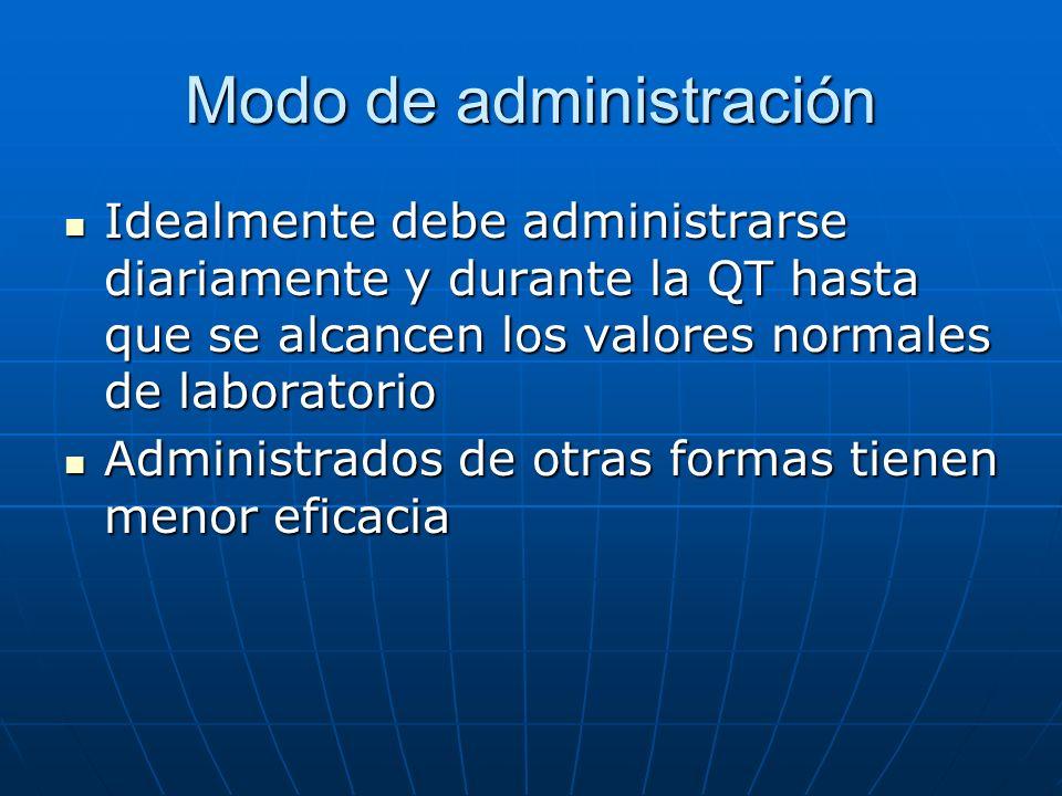 Modo de administración Idealmente debe administrarse diariamente y durante la QT hasta que se alcancen los valores normales de laboratorio Idealmente