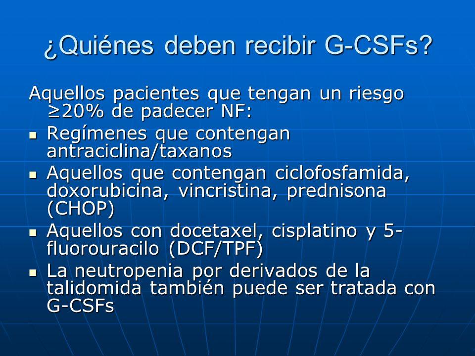 ¿Quiénes deben recibir G-CSFs? Aquellos pacientes que tengan un riesgo 20% de padecer NF: Regímenes que contengan antraciclina/taxanos Regímenes que c