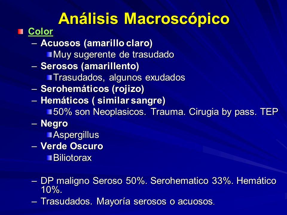 Análisis Macroscópico Color –Acuosos (amarillo claro) Muy sugerente de trasudado –Serosos (amarillento) Trasudados, algunos exudados –Serohemáticos (rojizo) –Hemáticos ( similar sangre) 50% son Neoplasicos.