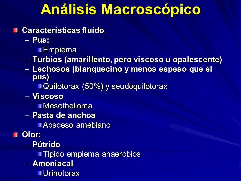 Análisis Macroscópico Características fluído: –Pus: Empiema –Turbios (amarillento, pero viscoso u opalescente) –Lechosos (blanquecino y menos espeso que el pus) Quilotorax (50%) y seudoquilotorax –Viscoso Mesothelioma –Pasta de anchoa Absceso amebiano Olor: –Pútrido Tipico empiema anaerobios –Amoniacal Urinotorax