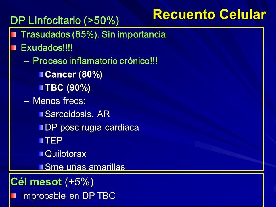 Recuento Celular DP Linfocitario (>50%) Trasudados (85%). Sin importancia Exudados!!!! –Proceso inflamatorio crónico!!! Cancer (80%) TBC (90%) –Menos