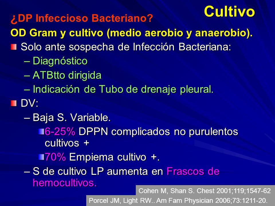 Cultivo ¿ DP Infeccioso Bacteriano? OD Gram y cultivo (medio aerobio y anaerobio). Solo ante sospecha de Infección Bacteriana: –Diagnóstico –ATBtto di