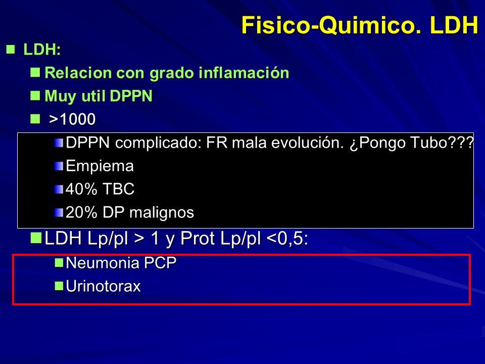 Fisico-Quimico. LDH LDH: LDH: Relacion con grado inflamación Relacion con grado inflamación Muy util DPPN Muy util DPPN >1000 >1000 DPPN complicado: F